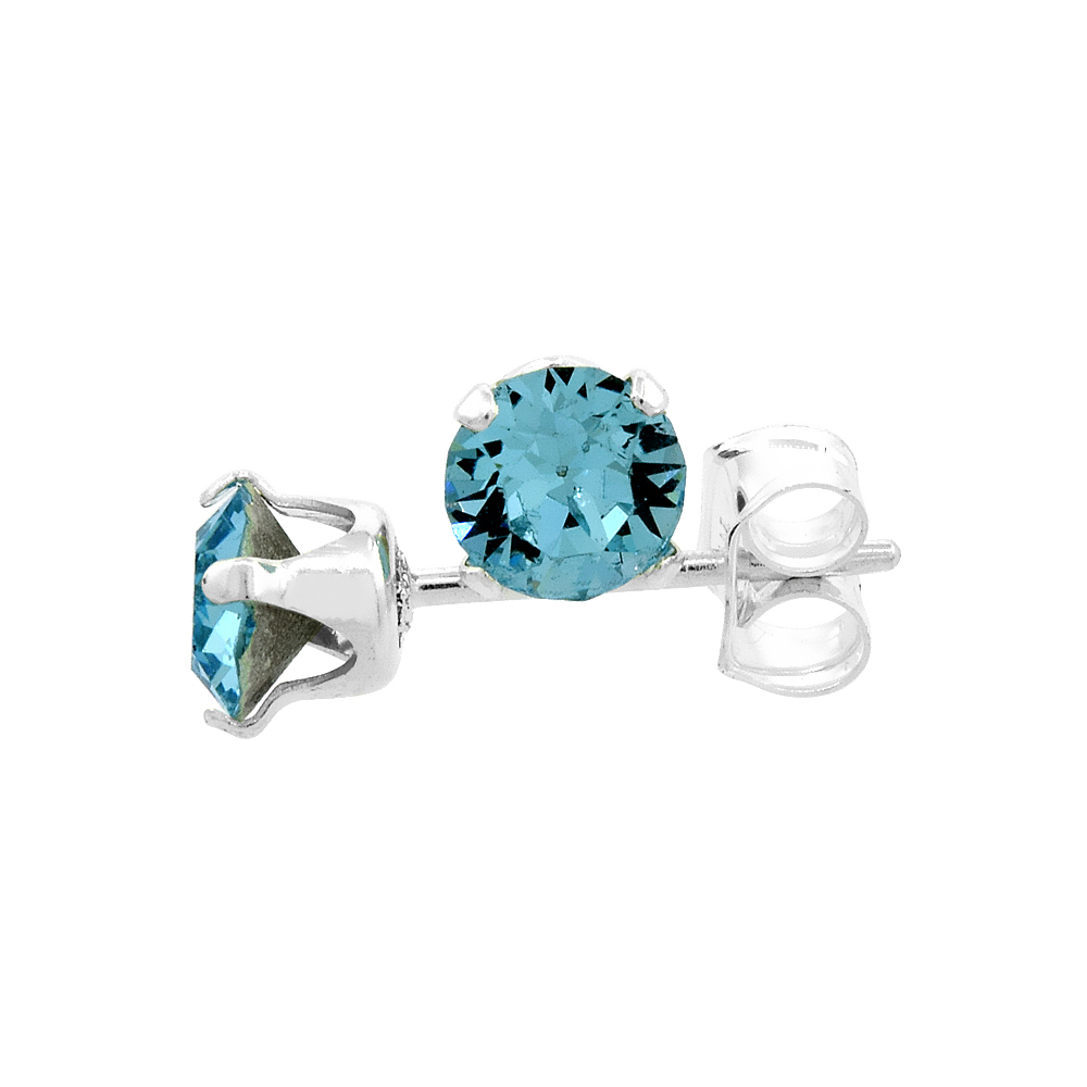 Sterling Silver March Birthstone Stud Earrings Aquamarine Color Swarovski Crystals 4 mm 1/2 ct total