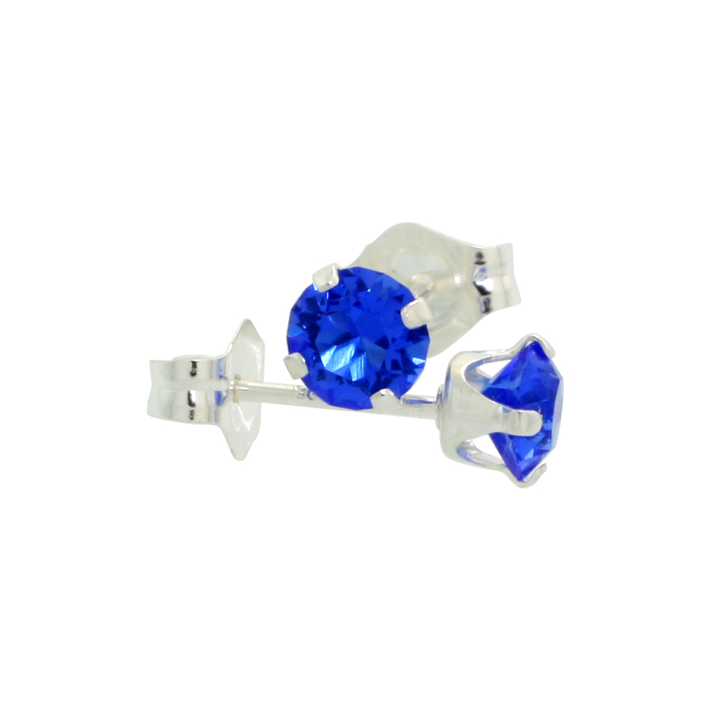 Sterling Silver September Birthstone Stud Earrings Blue Sapphire Color Swarovski Crystals 4 mm