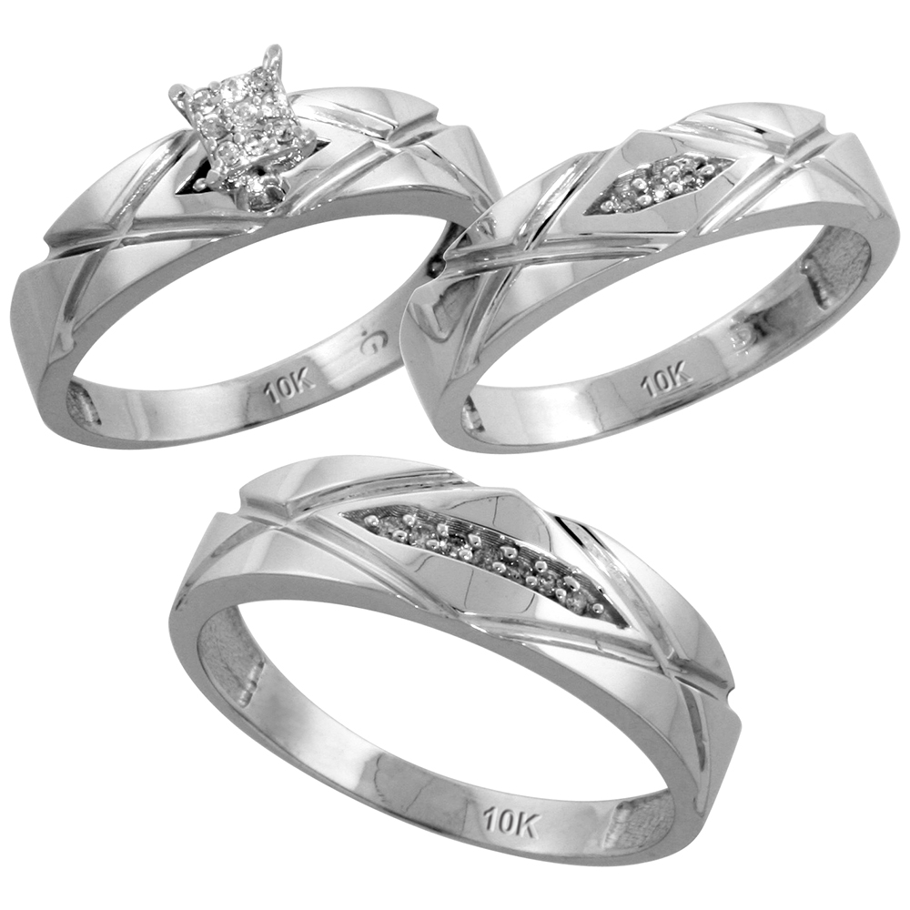10k White Gold 3 Piece Trio His 4 5mm Ladies Size 7