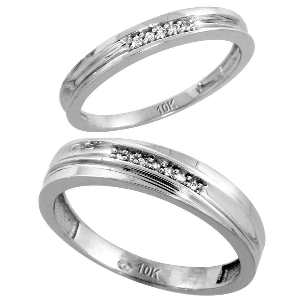 Sabrina Silver 10k White Gold Diamond Wedding Rings Set for him 5 mm and her 3 mm 2-Piece 0.06 cttw Brilliant Cut, ...