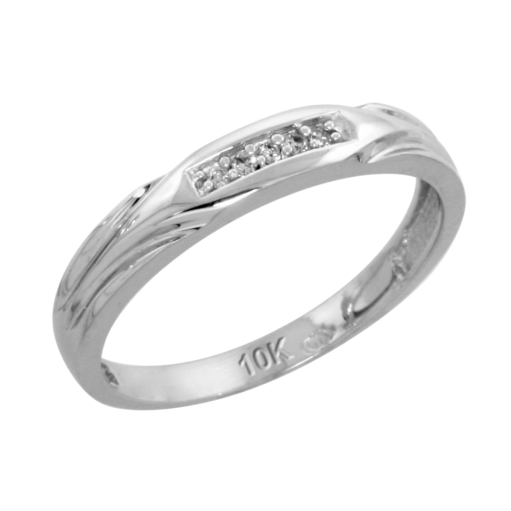 10k White Gold Ladies\' Diamond Wedding Band, 1/8 inch wide