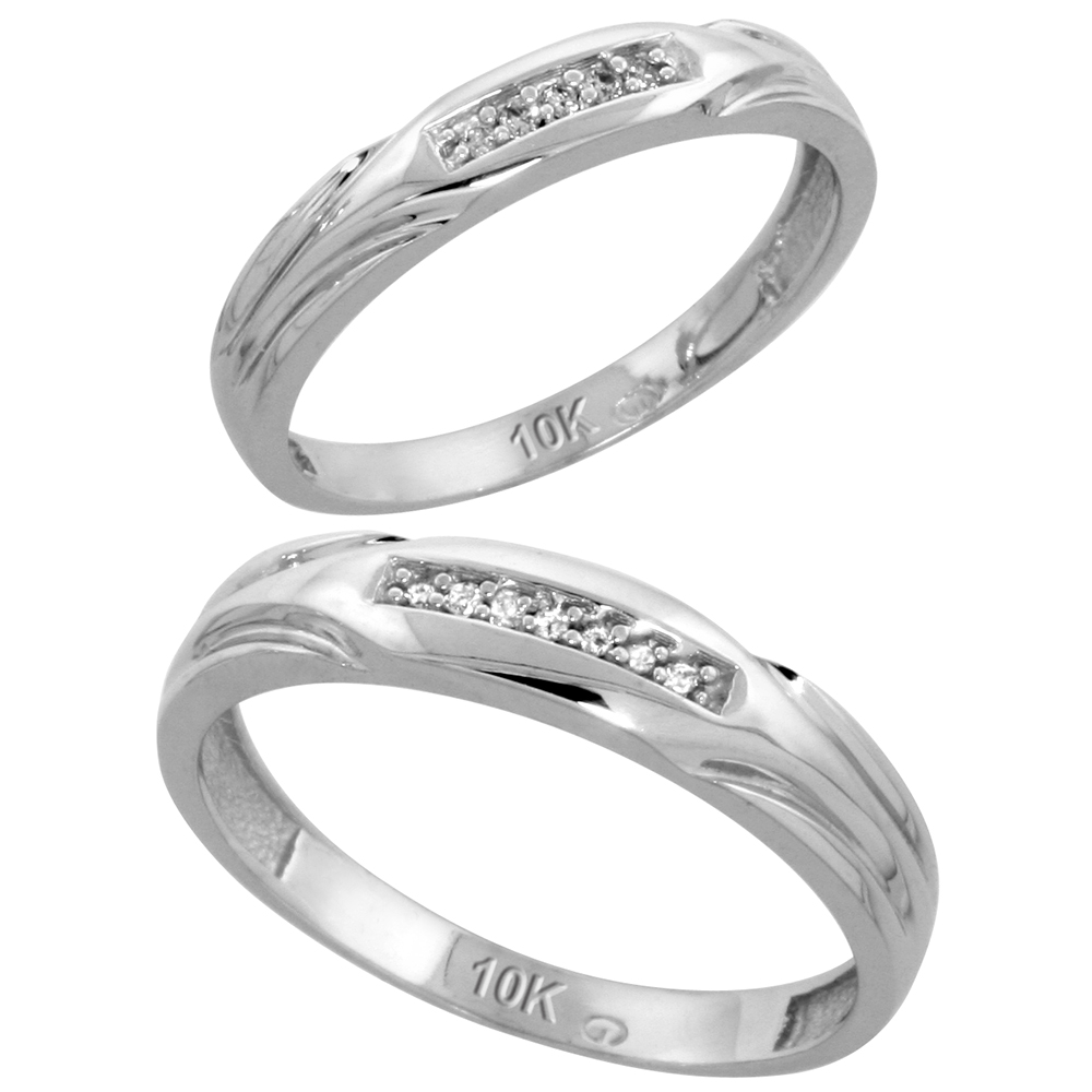 10k White Gold Diamond Wedding Rings Set for him 4.5 mm and her 3.5 mm 2-Piece 0.07 cttw Brilliant Cut, ladies sizes 5 ? 10, mens sizes 8 - 14