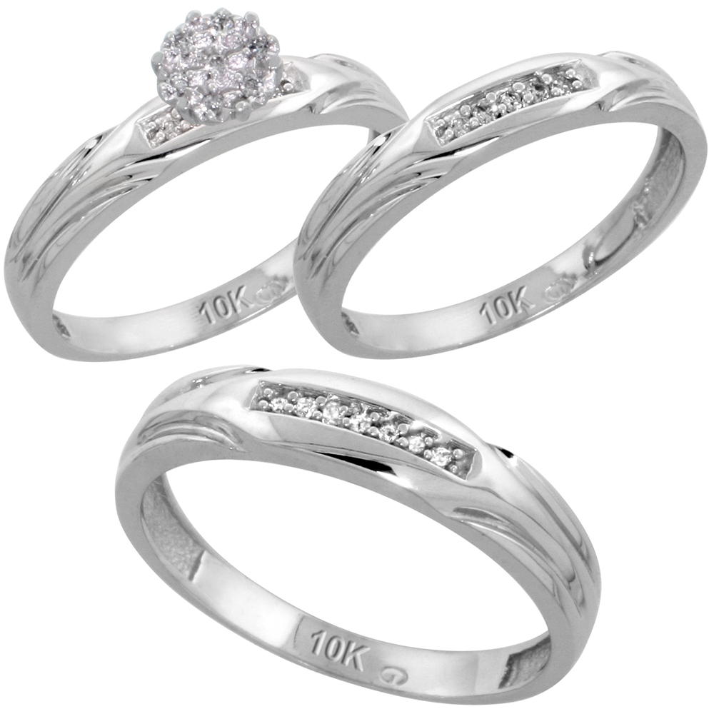 10k White Gold Diamond Trio Engagement Wedding Ring Set for Him and Her 3-piece 4.5 mm & 3.5 mm wide 0.13 cttw Brilliant Cut, ladies sizes 5 ? 10, mens sizes 8 - 14