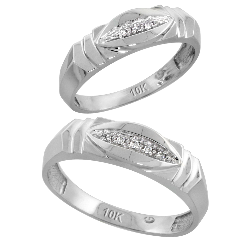 Sabrina Silver 10k White Gold Diamond Wedding Rings Set for him 6 mm and her 5 mm 2-Piece 0.05 cttw Brilliant Cut, ladies sizes 5  10, mens si at Sears.com
