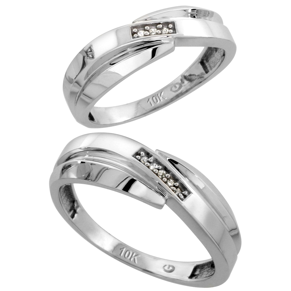Sabrina Silver 10k White Gold Diamond Wedding Rings Set for him 7 mm and her 6 mm 2-Piece 0.05 cttw Brilliant Cut, ladies sizes 5  10, mens si at Sears.com