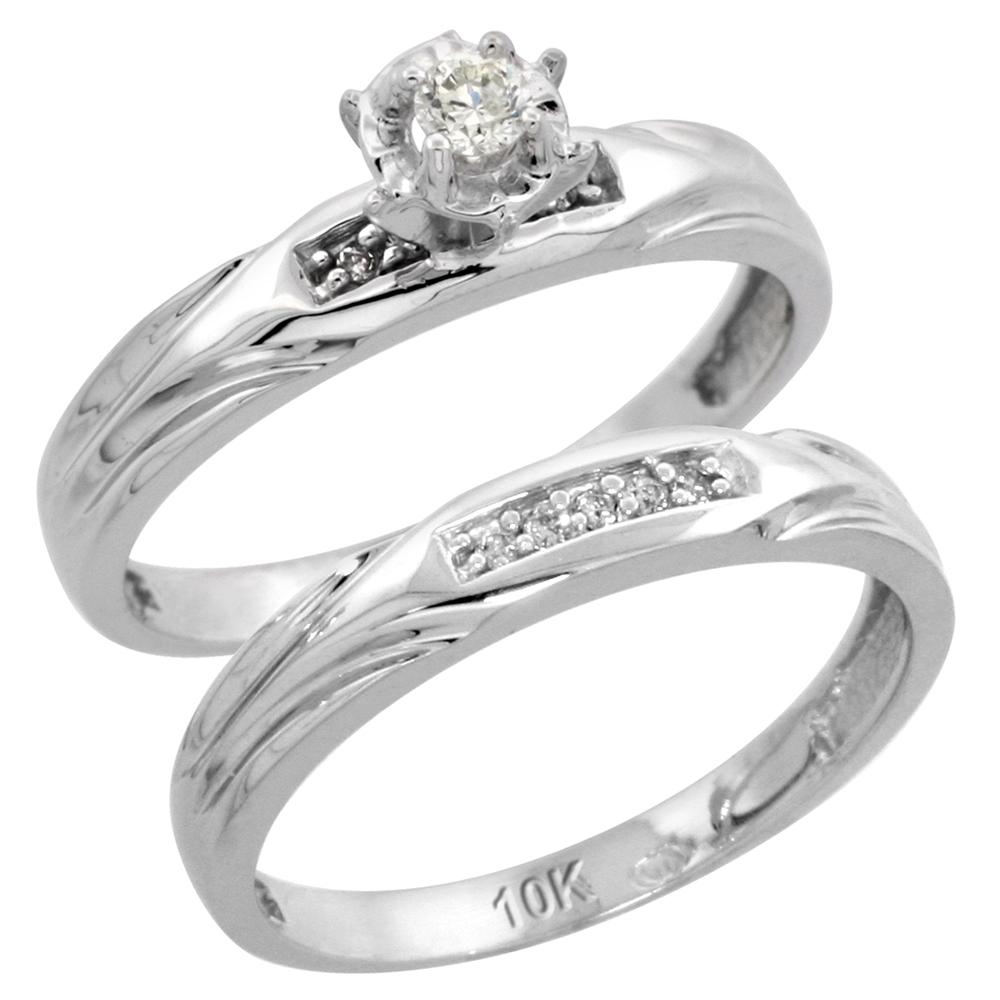 10k White Gold Ladies? 2-Piece Diamond Engagement Wedding Ring Set, 1/8 inch wide