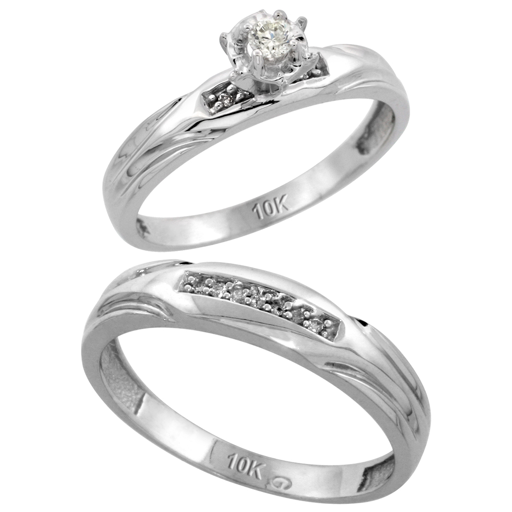 10k White Gold 2-Piece Diamond wedding Engagement Ring Set for Him and Her, 3.5mm & 4.5mm wide