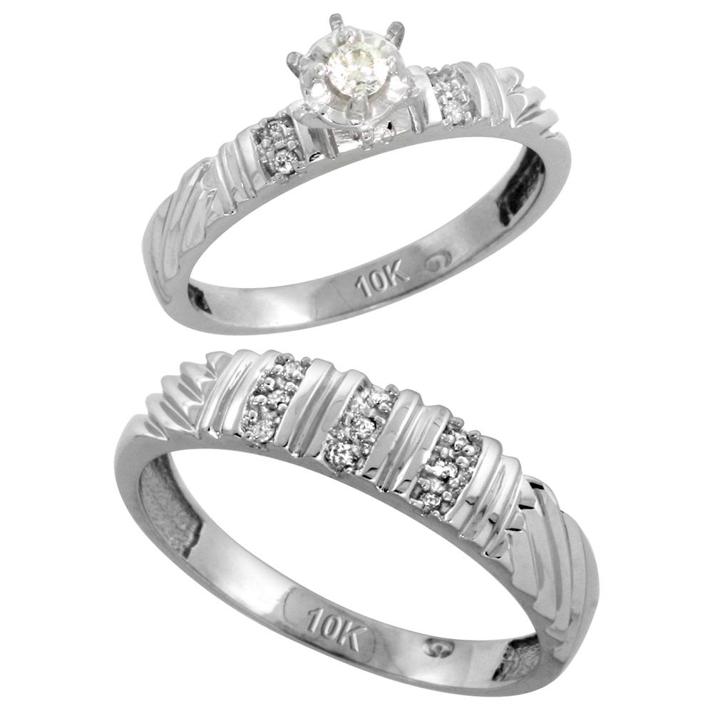 Sabrina Silver 10k White Gold 2-Piece Diamond Ring Set ( Engagement Ring & Man