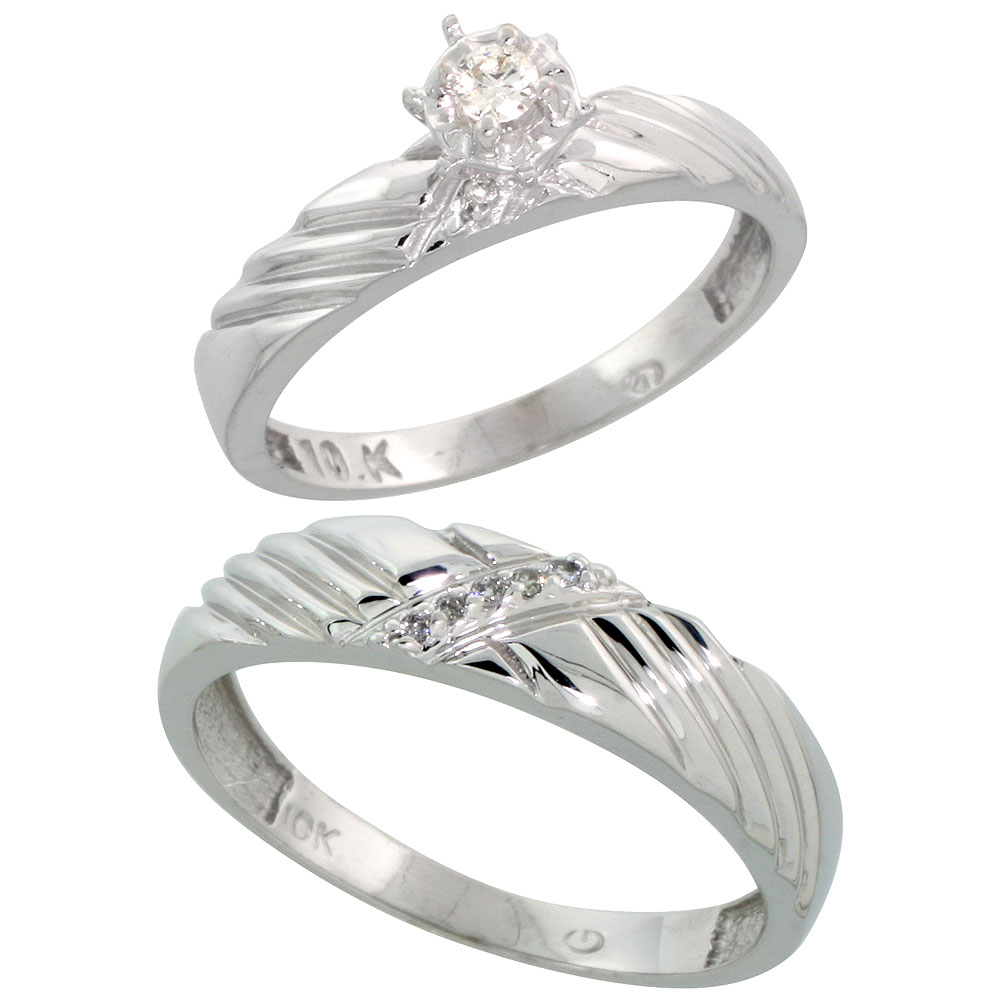 Sabrina Silver 10k White Gold 2-Piece Diamond wedding Engagement Ring Set for Him and Her, 3.5mm & 5mm wide