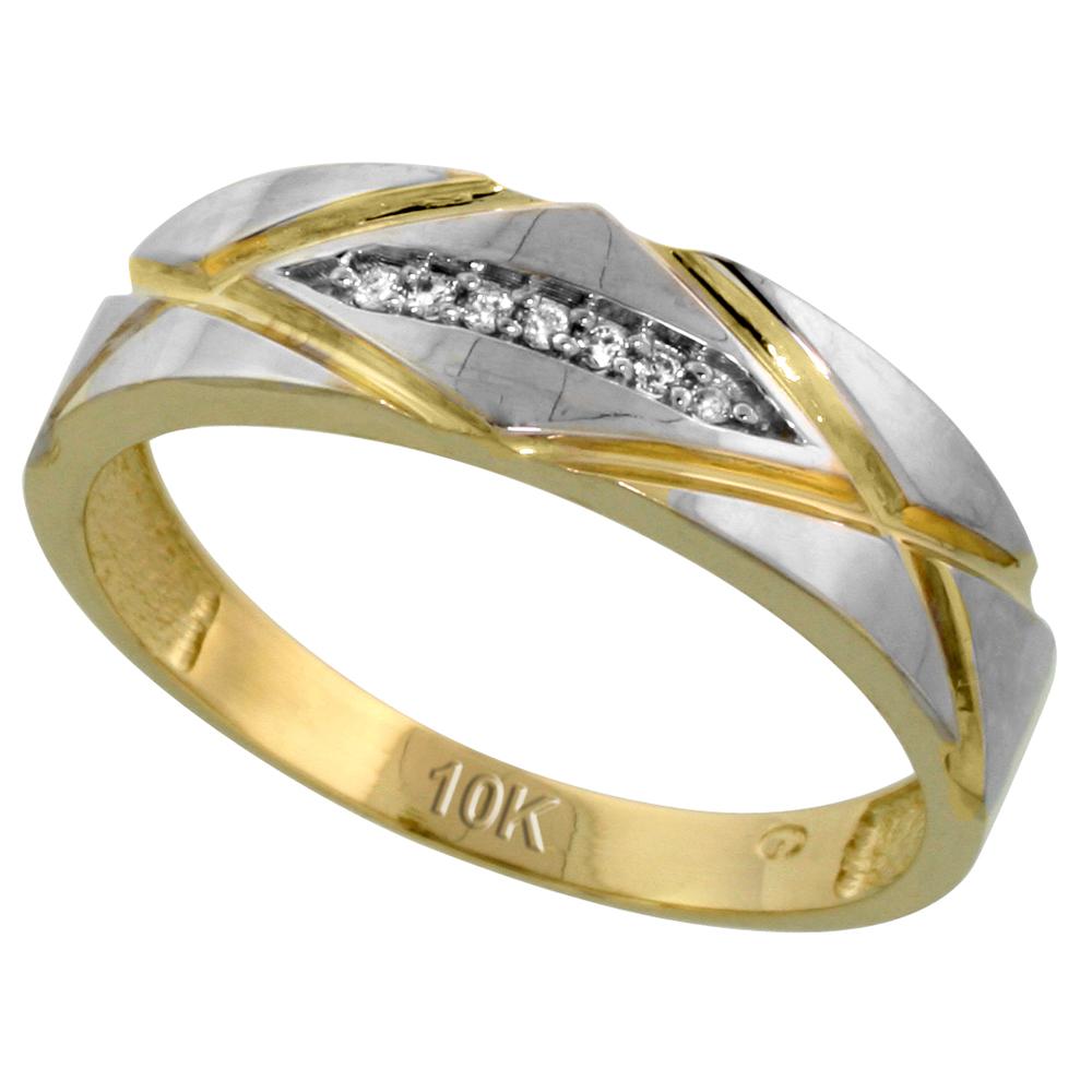 Sabrina Silver 10k Yellow Gold Mens Diamond Wedding Band Ring 0.04 cttw Brilliant Cut, 1/4 inch 6mm wide