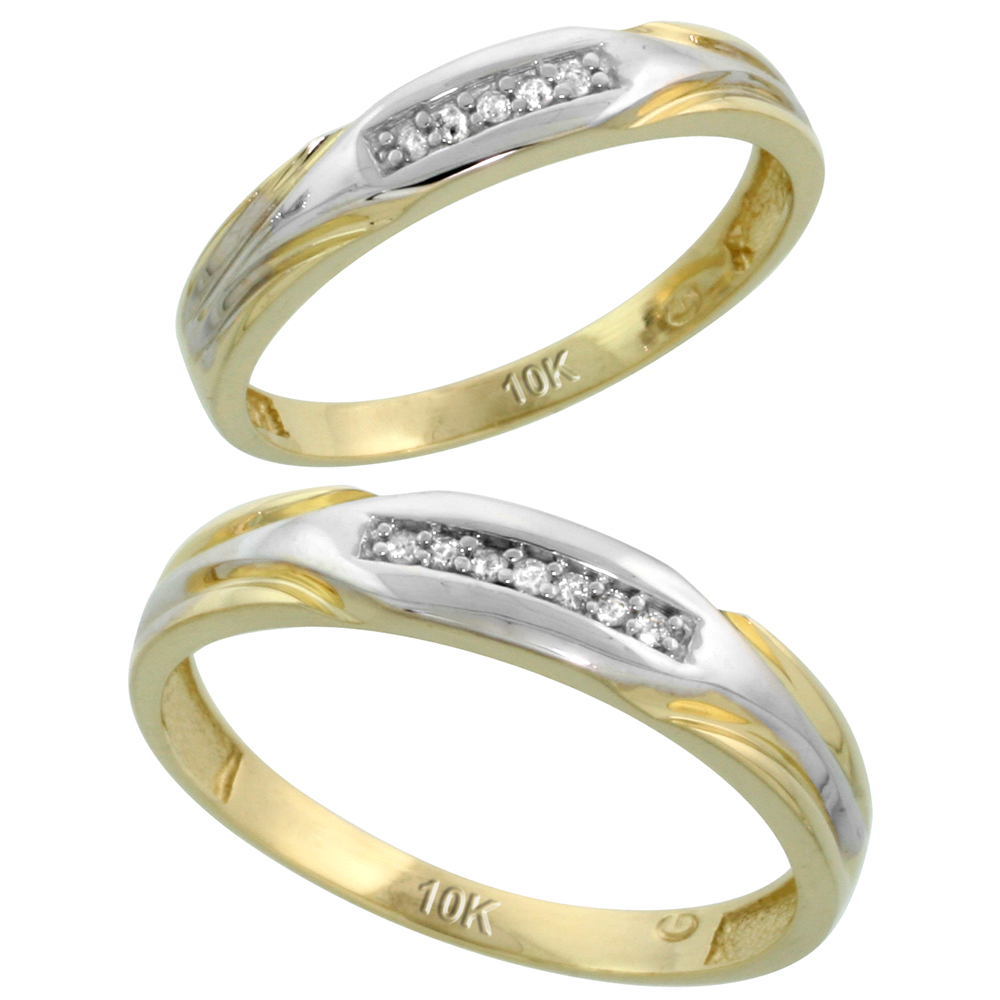 10k Yellow Gold Diamond Wedding Rings Set for him 4.5 mm and her 3.5 mm 2-Piece 0.07 cttw Brilliant Cut, ladies sizes 5 ? 10, mens sizes 8 - 14