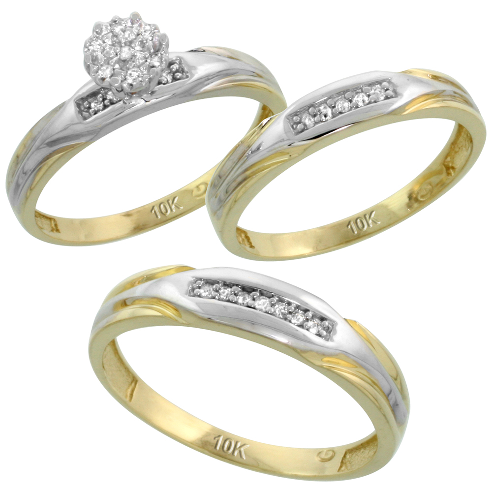 10k Yellow Gold Diamond Trio Engagement Wedding Ring Set for Him and Her 3-piece 4.5 mm & 3.5 mm wide 0.13 cttw Brilliant Cut, ladies sizes 5 ? 10, mens sizes 8 - 14