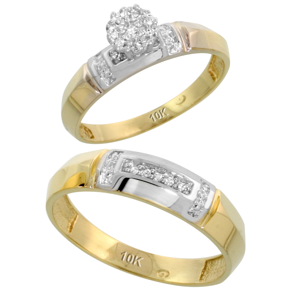 Sabrina Silver 10k Yellow Gold Diamond Engagement Rings Set for Men and Women 2-Piece 0.08 cttw Brilliant Cut, 4mm & ...