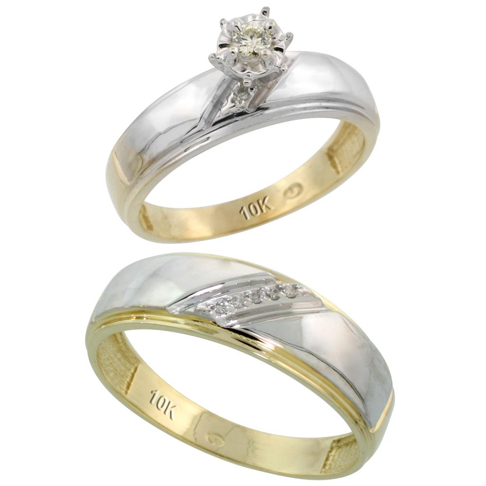 Sabrina Silver 10k Gold 2-Piece Diamond Ring Set ( Engagement Ring & Man