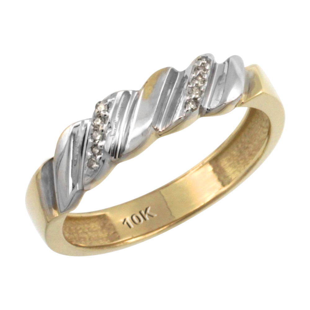 Sterling Silver Gold Plated Ladies Diamond Wedding Ring Band W 0 013 Carat Brilliant Cut Diamonds 5 32 In 4 5mm Wide Size 9