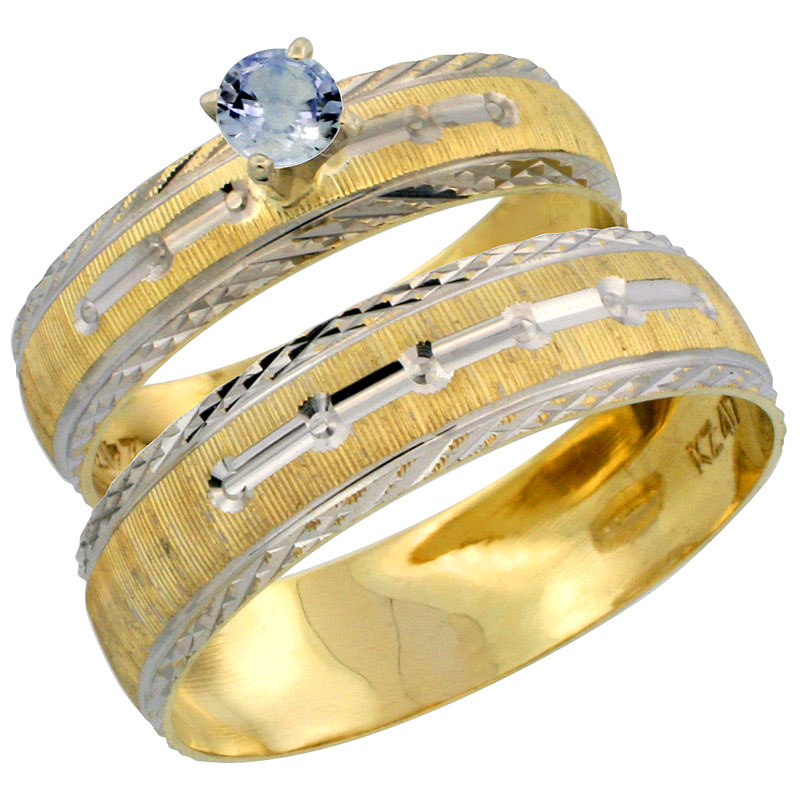 10k Gold 2Piece 025 Carat Light Blue Sapphire Ring Set Engagement Ring
