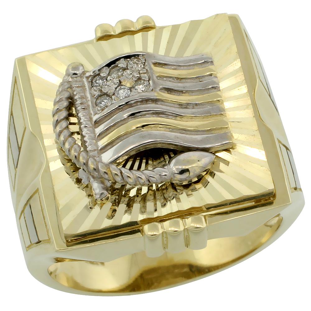 10k Gold Men\'s American Flag Rhodium Accented Square Diamond Ring w/ 0.062 Carat Brilliant Cut Diamonds, 3/4 in. (19mm) wide