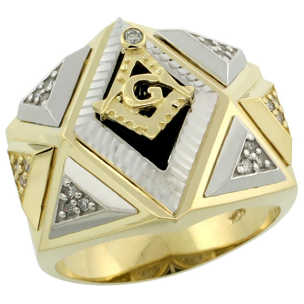 10k Gold Men\'s Freemasonry Rhodium Accented Masonic Diamond Ring w/ Black Onyx Stone & 0.165 Carat Brilliant Cut Diamonds, 3/4 in. (19mm) wide