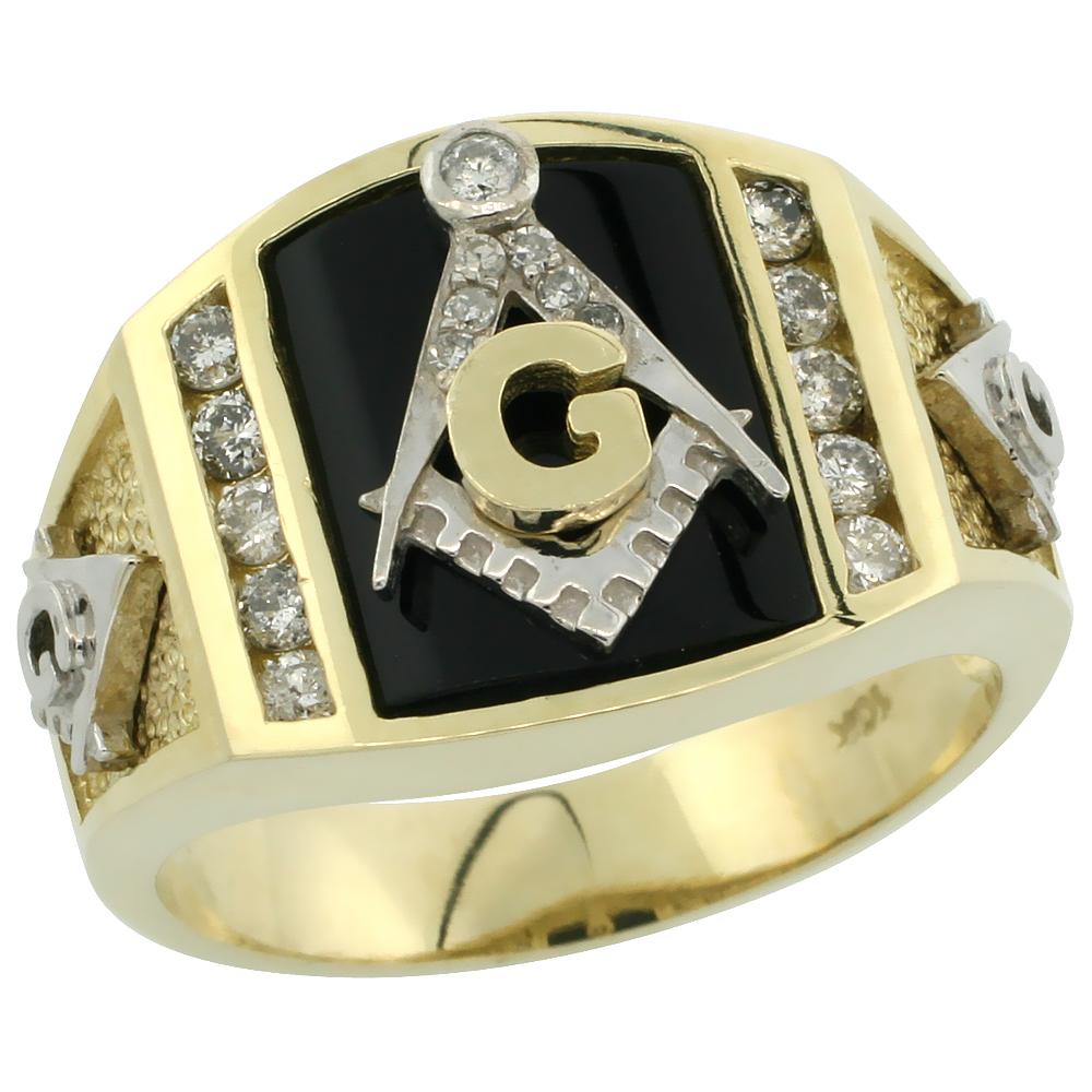 10k Gold Men\'s Freemasonry Rhodium Accented Masonic Diamond Ring w/ Black Onyx Stone & 0.398 Carat Brilliant Cut Diamonds, 9/16 in. (15mm) wide