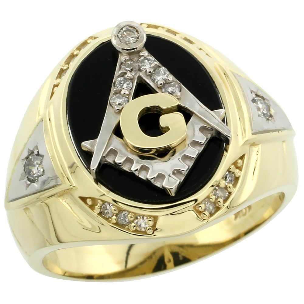 10k Gold Men\'s Freemasonry Rhodium Accented Masonic Oval Diamond Ring w/ Black Onyx Stone & 0.261 Carat Brilliant Cut Diamonds, 11/16 in. (18mm) wide