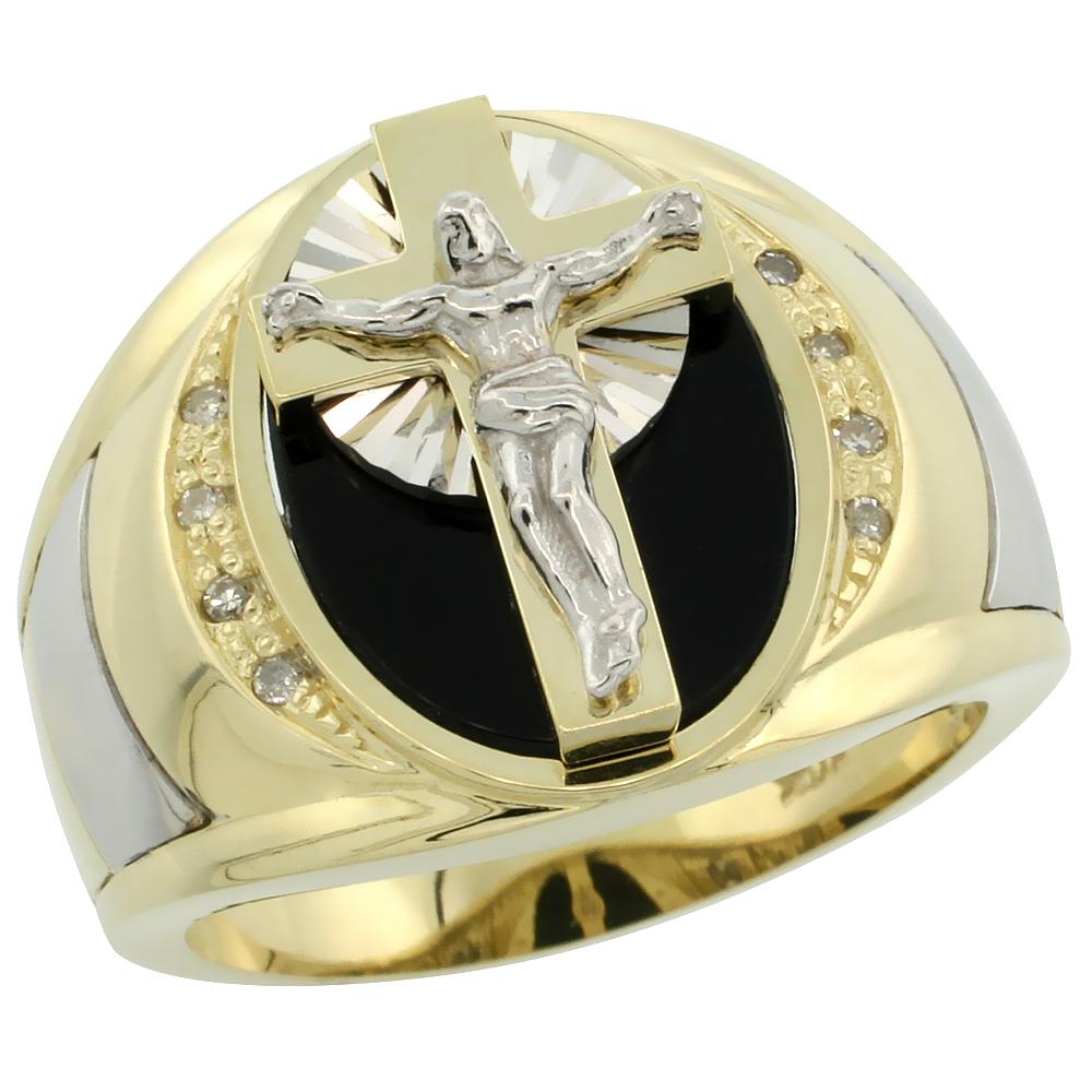 10k Gold Men\'s Rhodium Accented Crucifix Oval Diamond Ring w/ Black Onyx Stone & 0.066 Carat Brilliant Cut Diamonds, 5/8 in. (16mm) wide