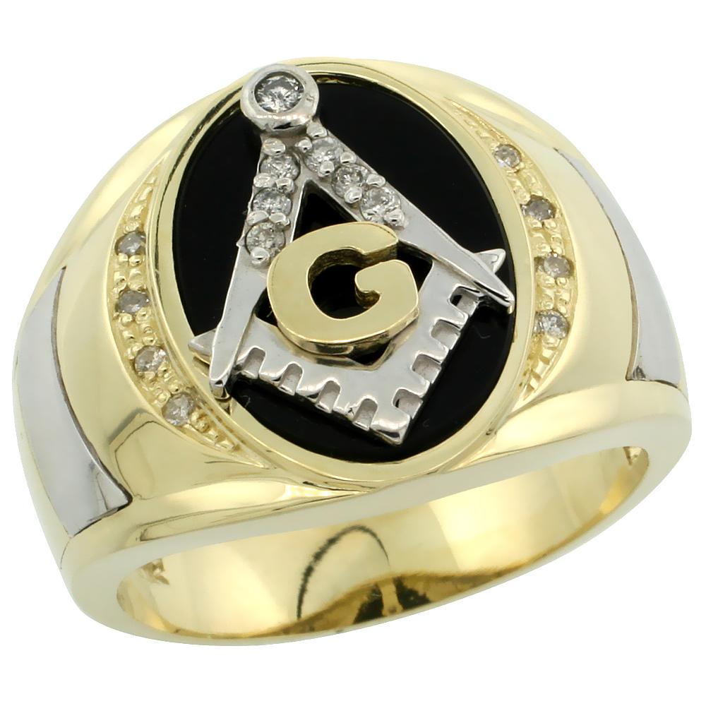 10k Gold Men\'s Rhodium Accented Masonic Oval Diamond Ring w/ Black Onyx Stone & 0.152 Carat Brilliant Cut Diamonds, 5/8 in. (16mm) wide