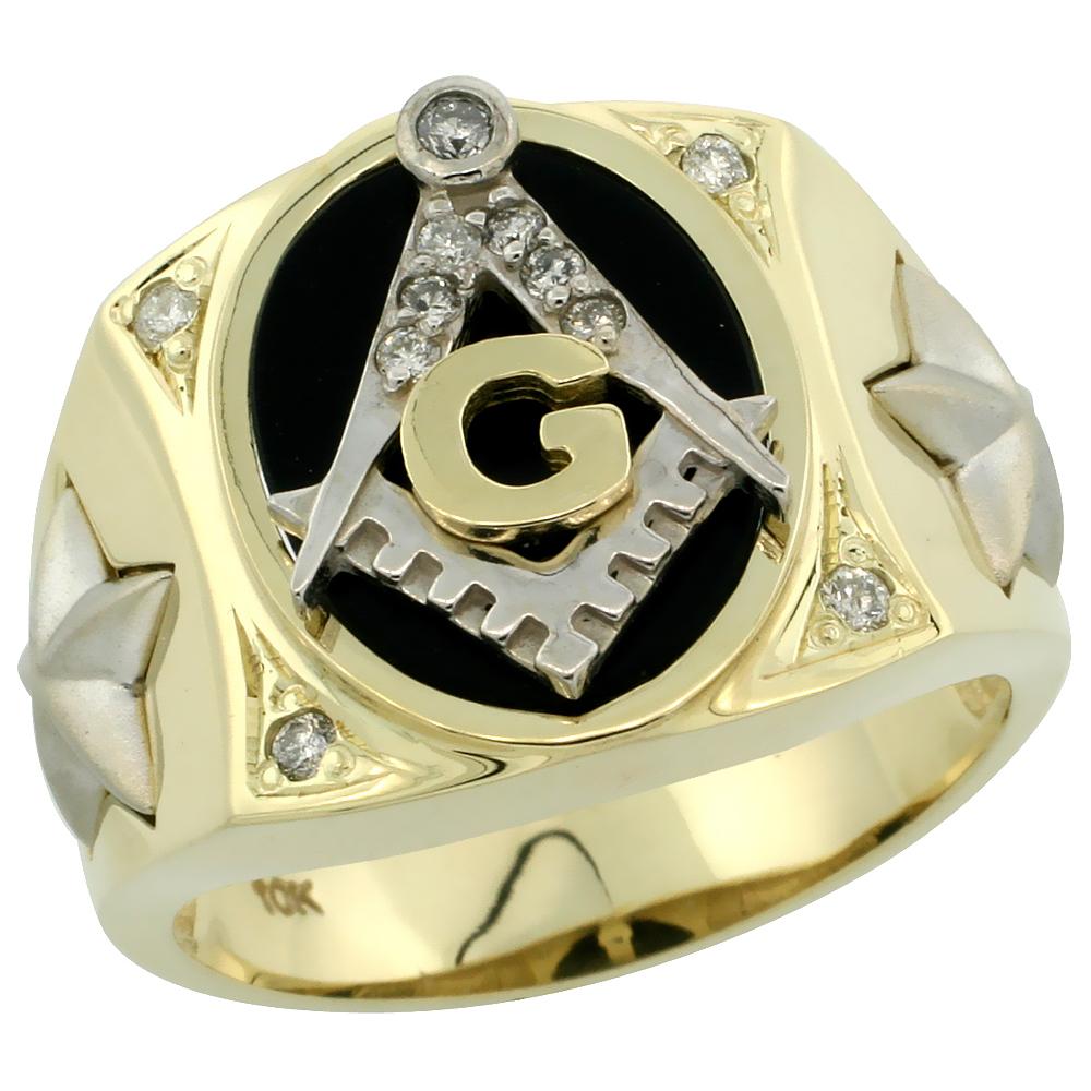 10k Gold Men\'s Rhodium Accented Masonic Oval Diamond Ring w/ Black Onyx Stone & 0.119 Carat Brilliant Cut Diamonds, 5/8 in. (16mm) wide