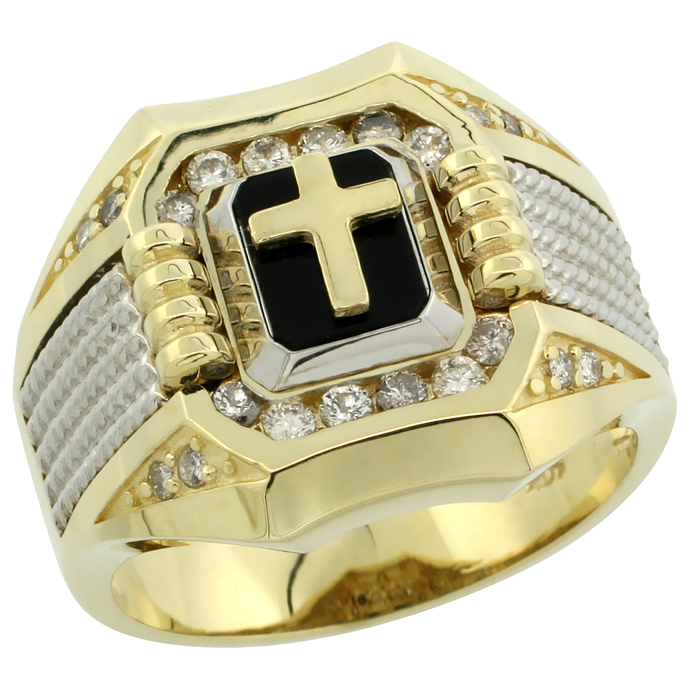 10k Gold Men\'s Rhodium Accented Square Diamond Cross Ring w/ Black Onyx Stone & 0.37 Carat Brilliant Cut Diamonds, 11/16 in. (17mm) wide