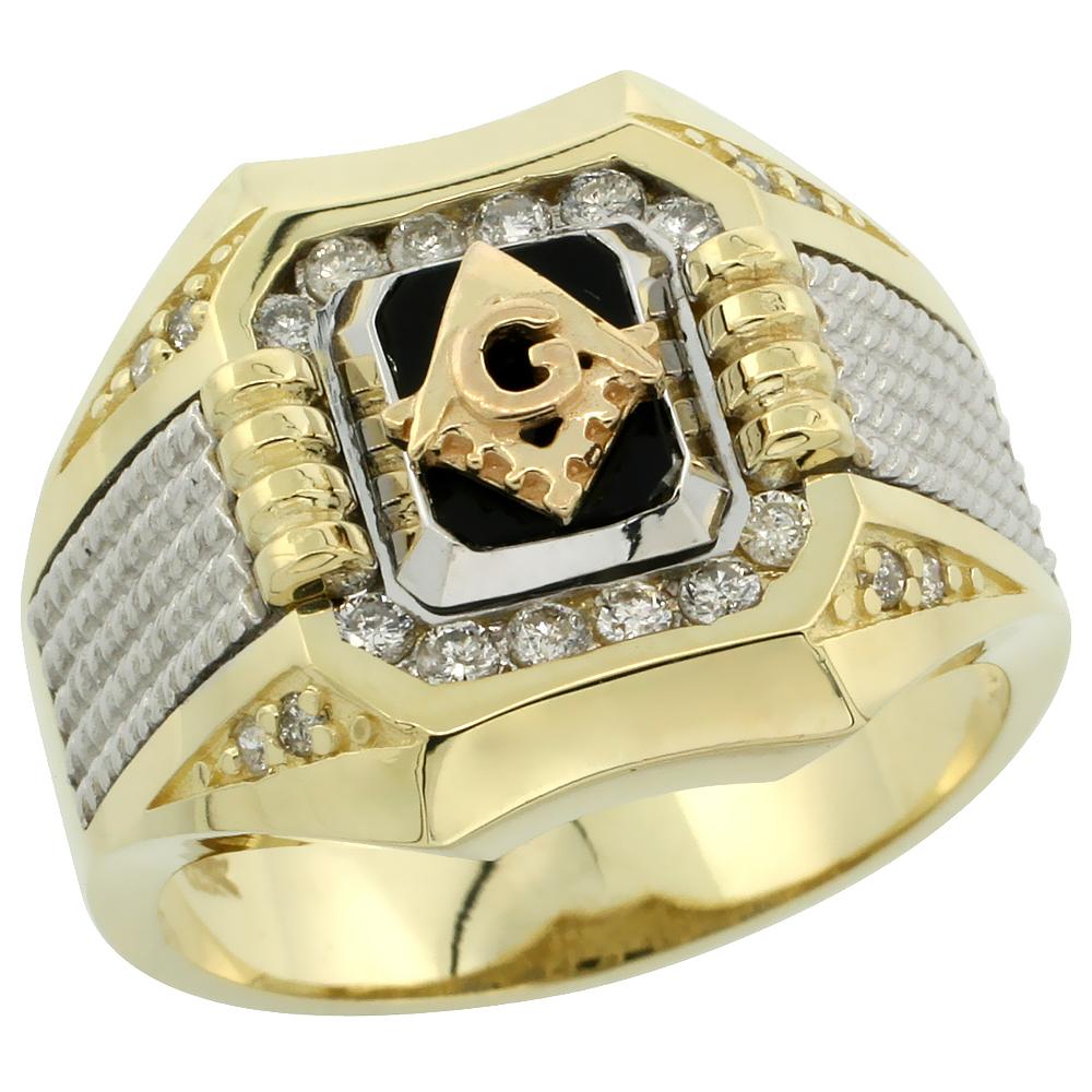 10k Gold Men\'s Rhodium Accented Square Diamond Masonic Ring w/ Black Onyx Stone & 0.37 Carat Brilliant Cut Diamonds, 11/16 in. (17mm) wide