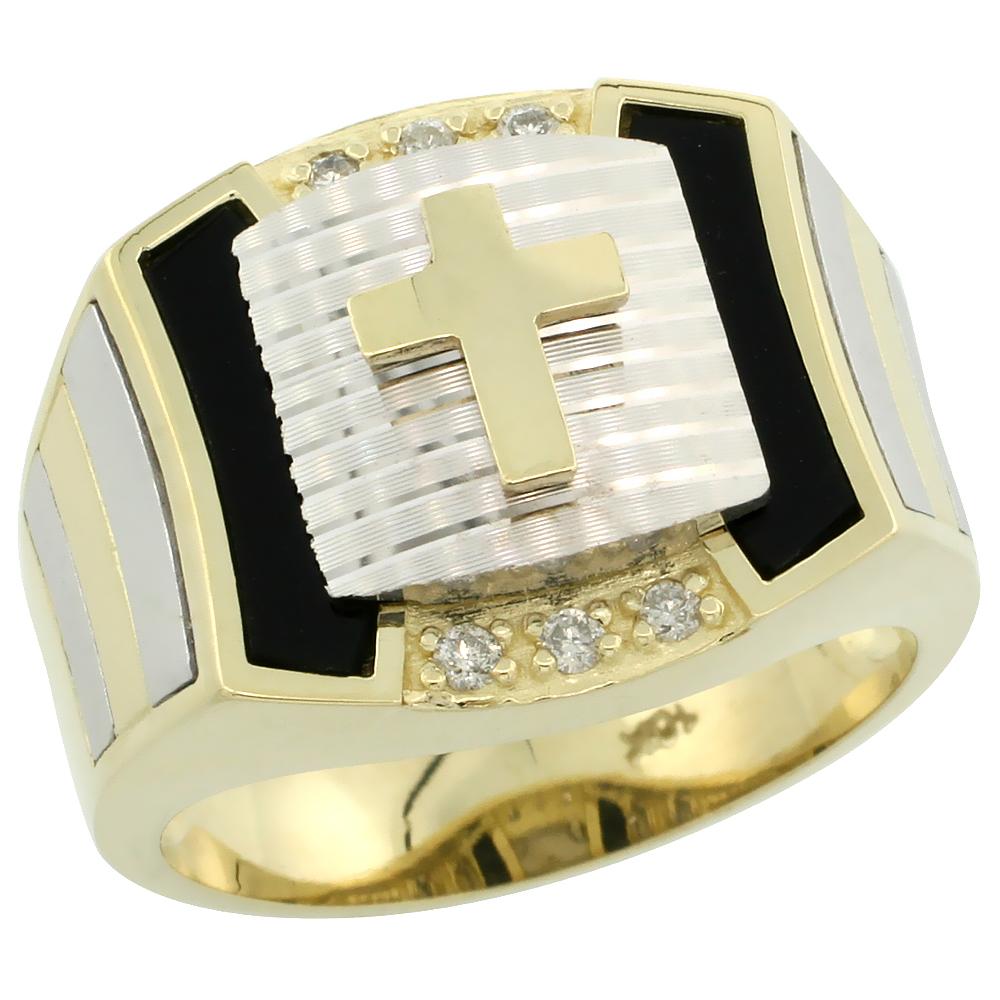 10k Gold Men\'s Rhodium Accented Square Diamond Cross Ring w/ Black Onyx Stone & 0.095 Carat Brilliant Cut Diamonds, 5/8 in. (16mm) wide