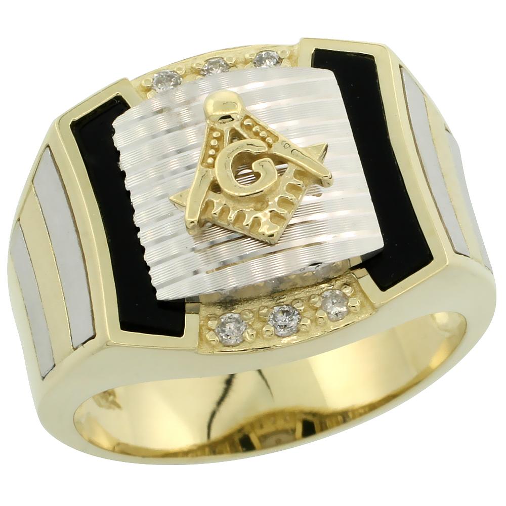10k Gold Men\'s Rhodium Accented Square Diamond Masonic Ring w/ Black Onyx Stone & 0.111 Carat Brilliant Cut Diamonds, 5/8 in. (16mm) wide