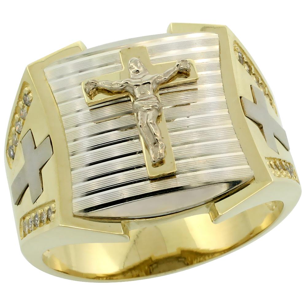 10k Gold Men\'s Rhodium Accented Square Diamond Crucifix Ring w/ 0.166 Carat Brilliant Cut Diamonds, 11/16 in. (17mm) wide