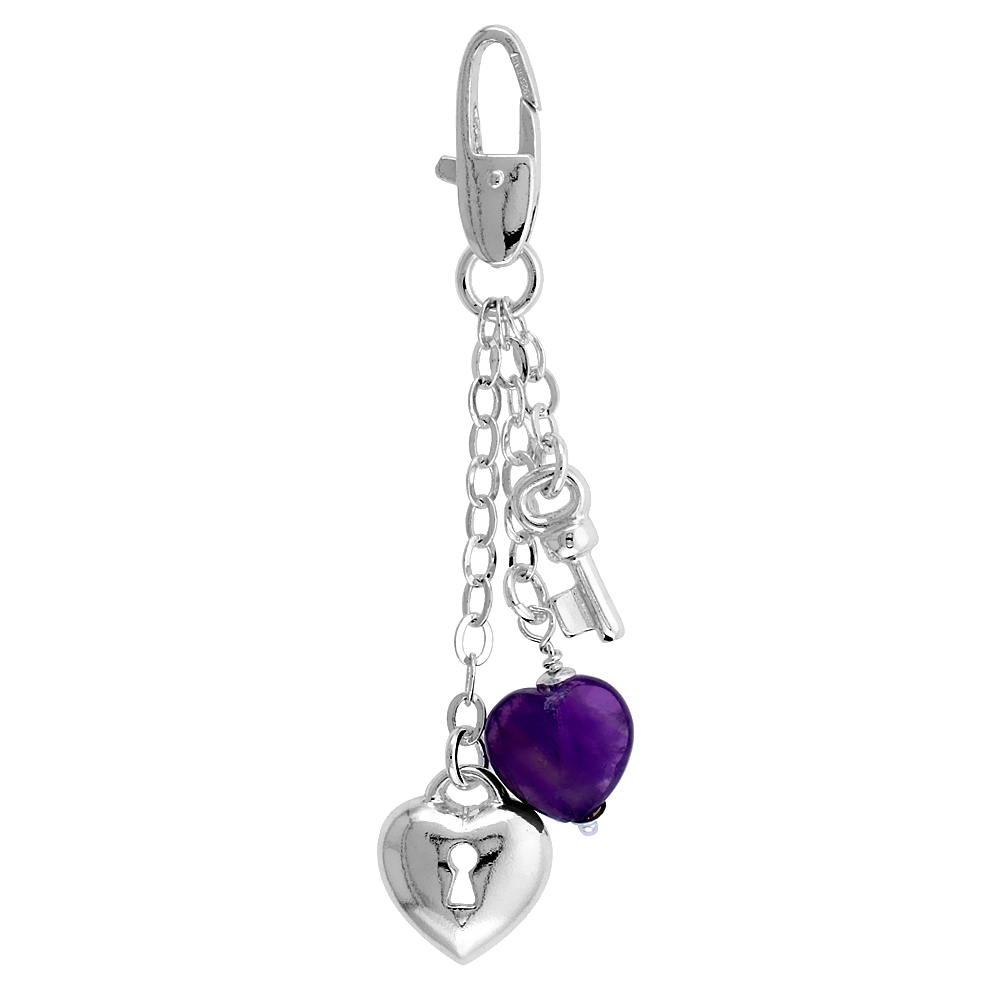 Sterling Silver Key To My Heart Dangle Charm for Bracelet, Anklet or Necklace, 2 in. (51 mm) tall
