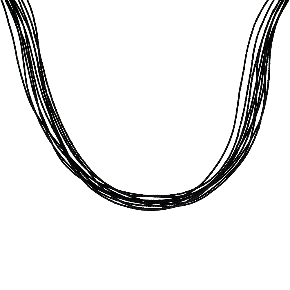 Japanese Silk Necklace 10 Strand Black, Sterling Silver Clasp, 18 inch