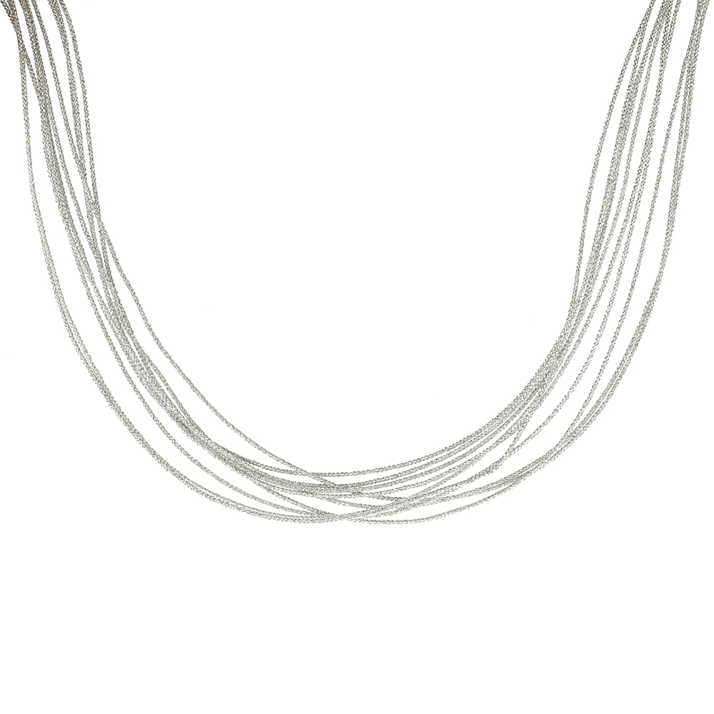 Japanese Silk Necklace 10 Strand Silver, Sterling Silver Clasp, 18 inch