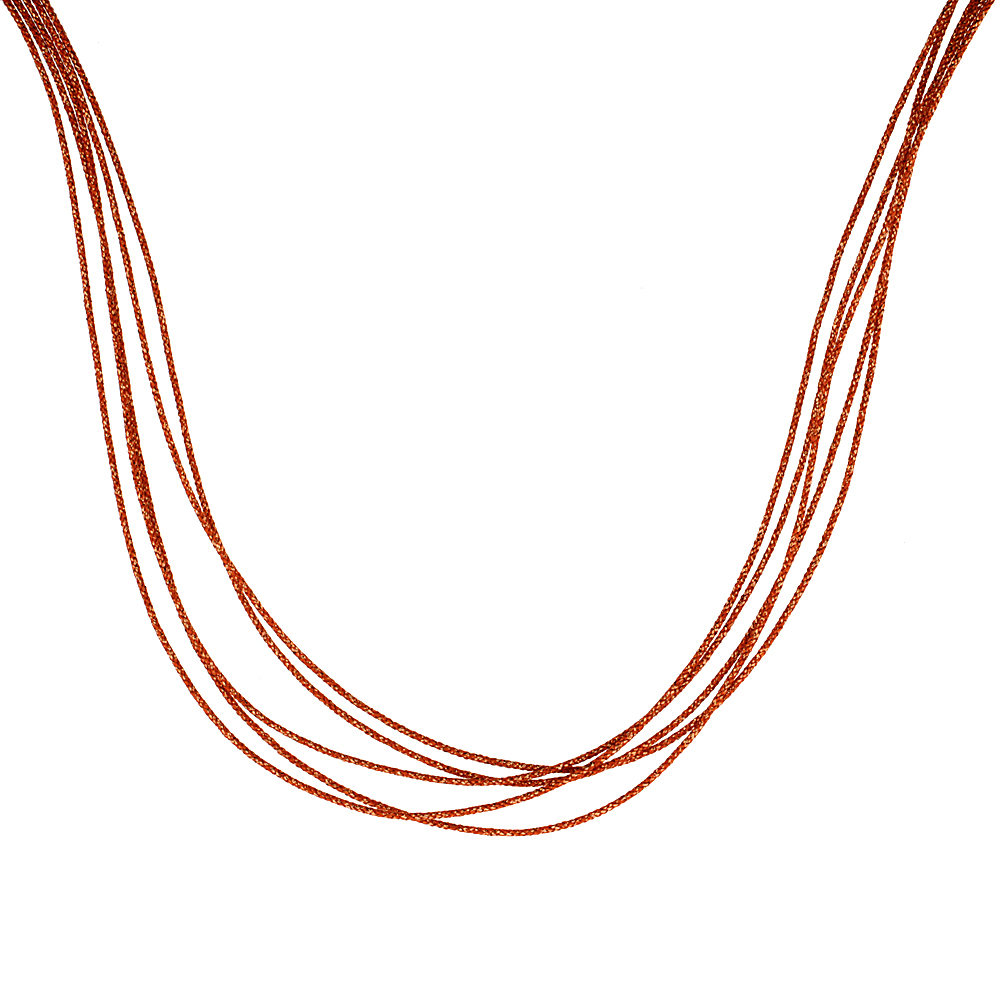Japanese Silk Necklace 5 Strand Orange, Sterling Silver Clasp, 18 inch