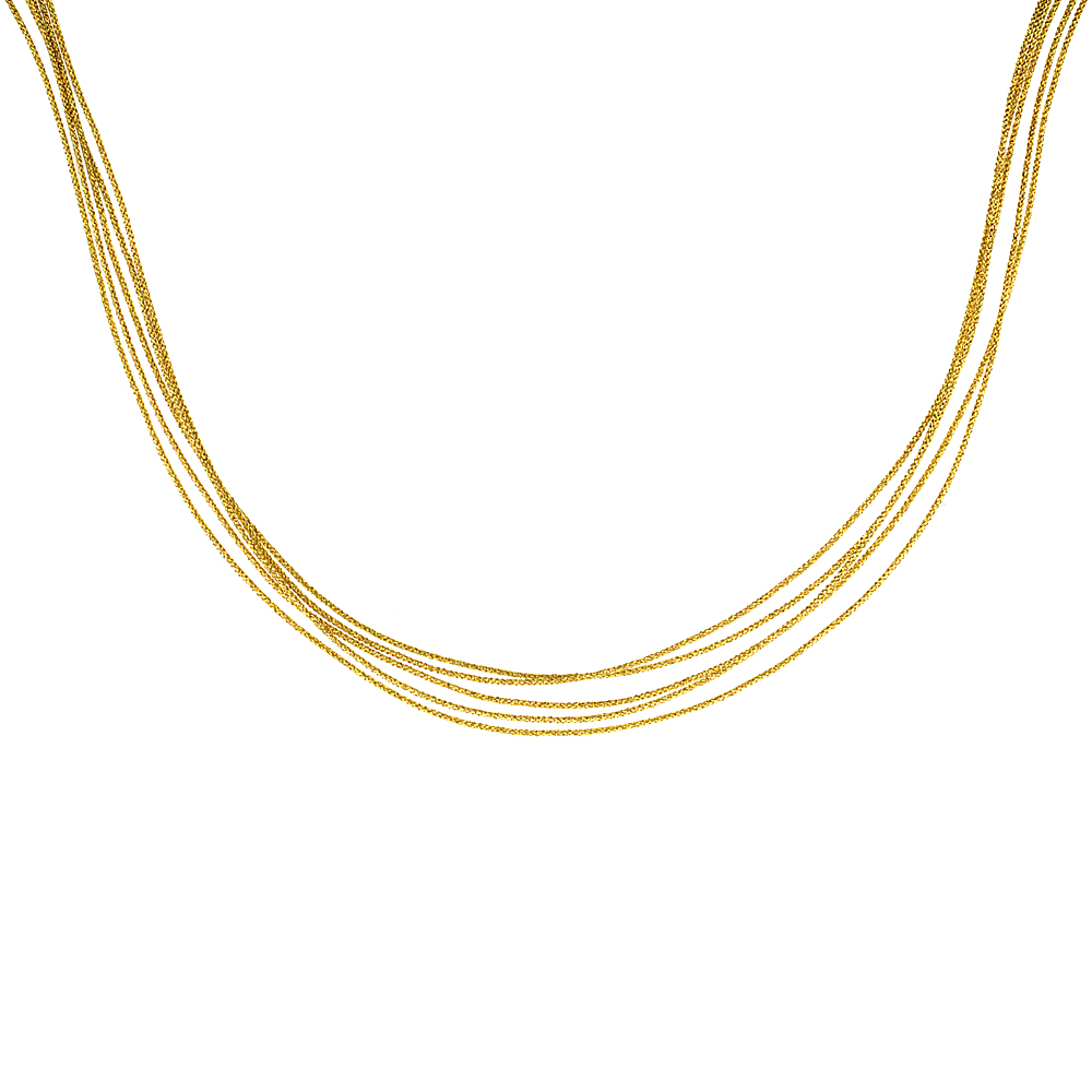 Japanese Silk Necklace 5 Strand Yellow, Sterling Silver Clasp, 18 inch