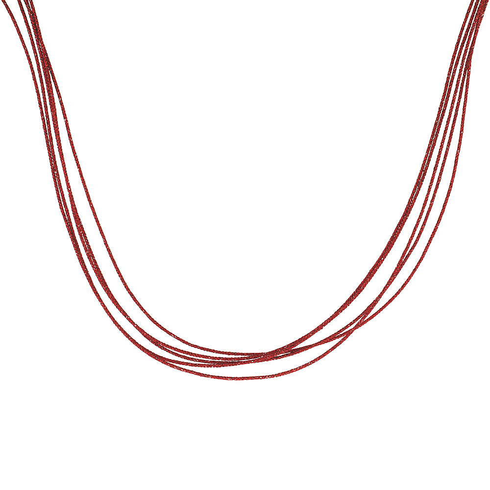 Japanese Silk Necklace 5 Strand Red, Sterling Silver Clasp, 18 inch