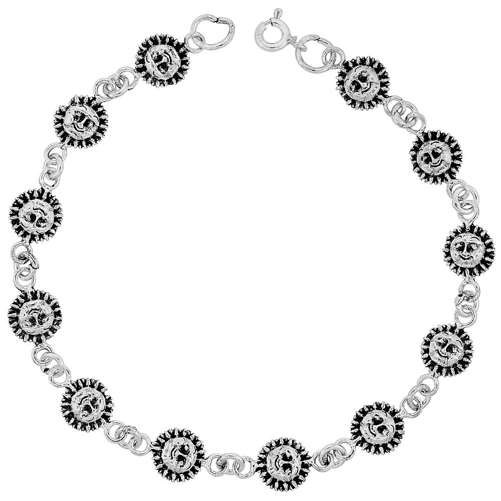 Dainty Sterling Silver Sun Bracelet for Women and Girls, 3/8 wide 7.5 inch long