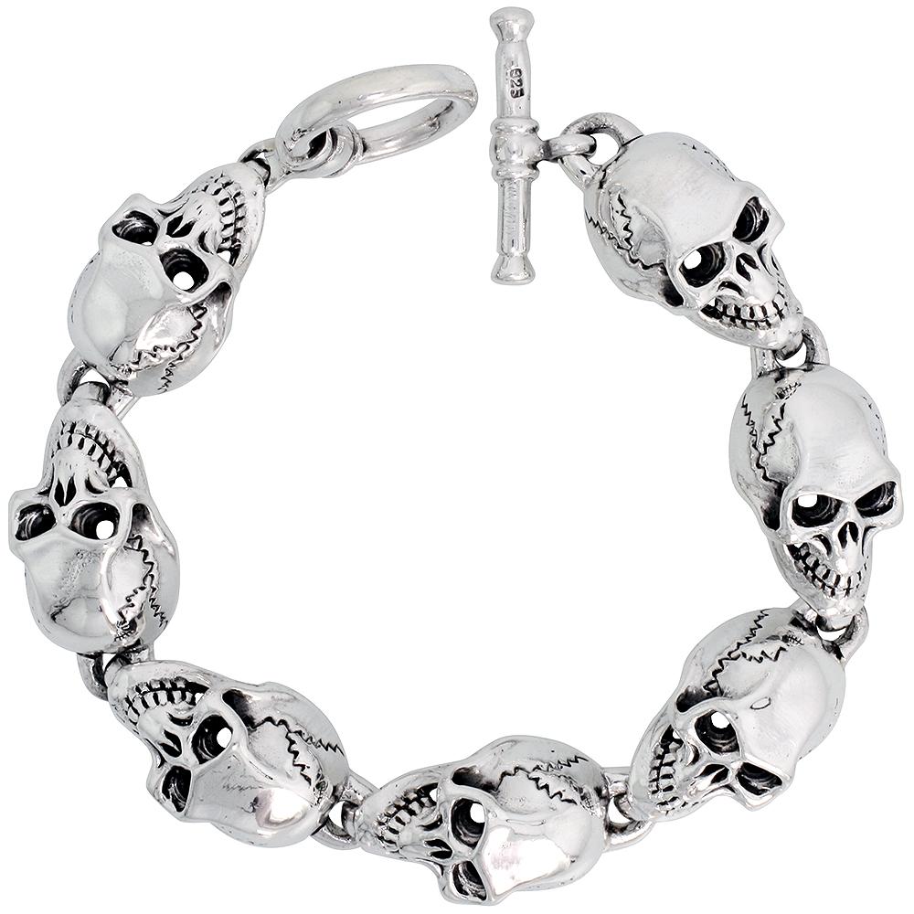 Sterling Silver Heavy Skull Bracelet for Men 9/16 inch wide, 8 inch long
