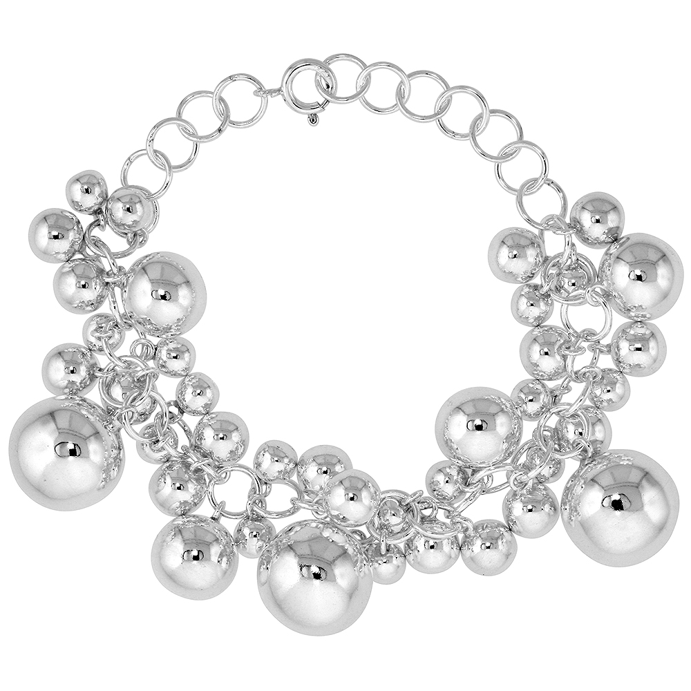 Sterling Silver Ball Cluster Bracelet 9/16 inch wide, 7 - 8 inch long