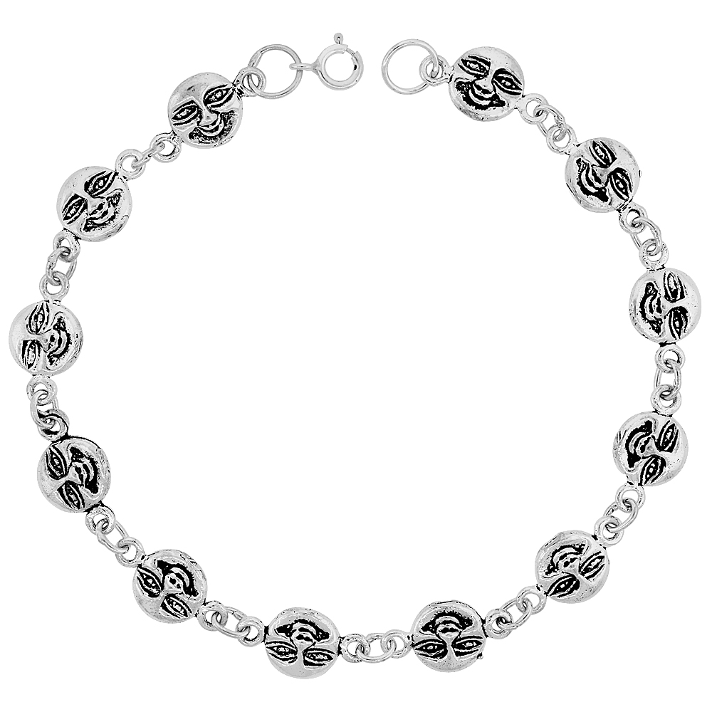 Dainty Sterling Silver Happy Face Bracelet for Women and Girls, 3/8 wide 7.5 inch long