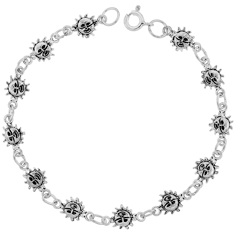 Dainty Sterling Silver Sun Bracelet for Women and Girls, 1/4 wide 7.5 inch long