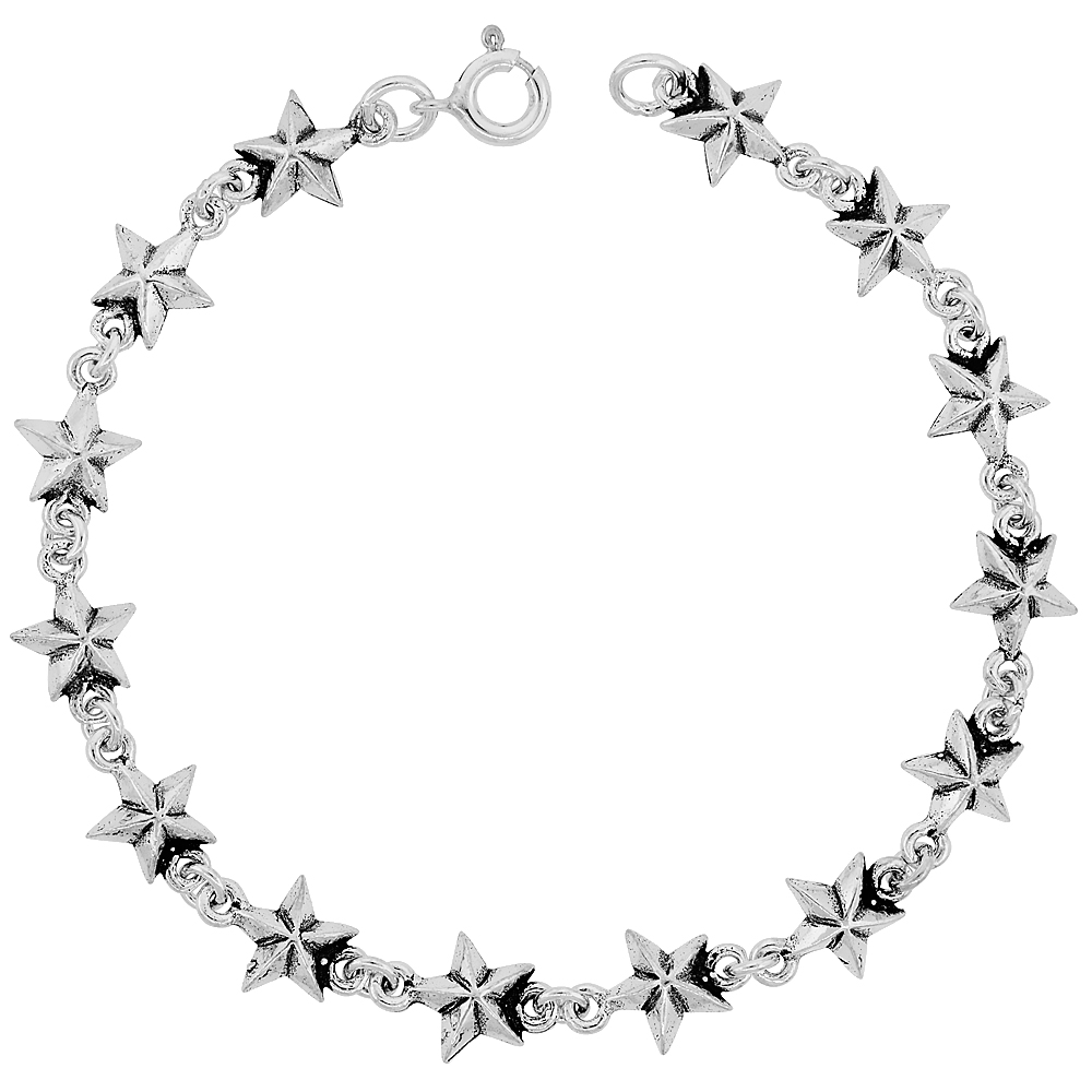 Dainty Sterling Silver Stars Bracelet for Women and Girls, 3/8 wide 7.5 inch long