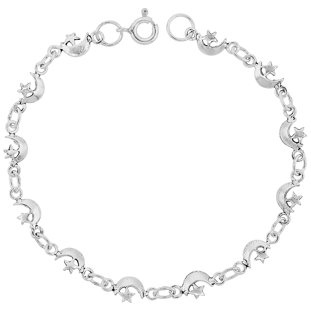 Dainty Sterling Silver Moon and Star Bracelet for Women and Girls, 1/4 wide 7.5 inch long