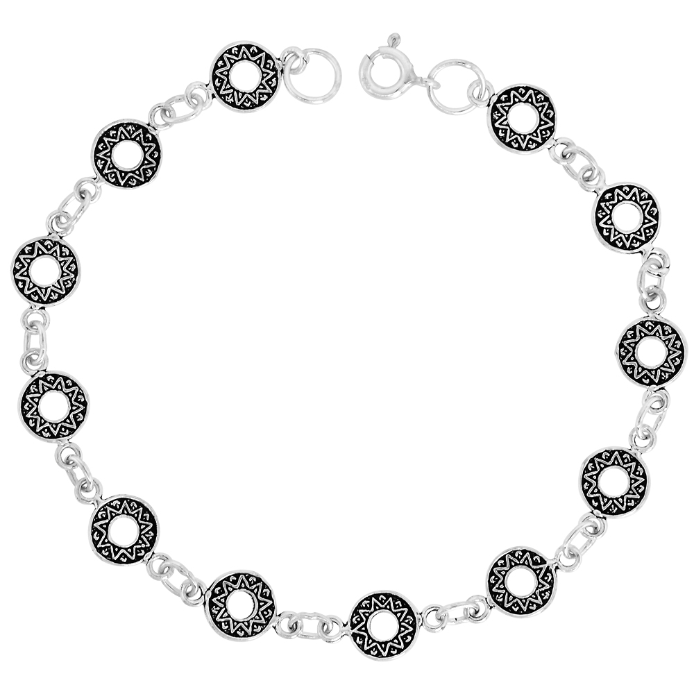 Dainty Sterling Silver Celtic Bracelet for Women and Girls, 5/16 wide 7.5 inch long
