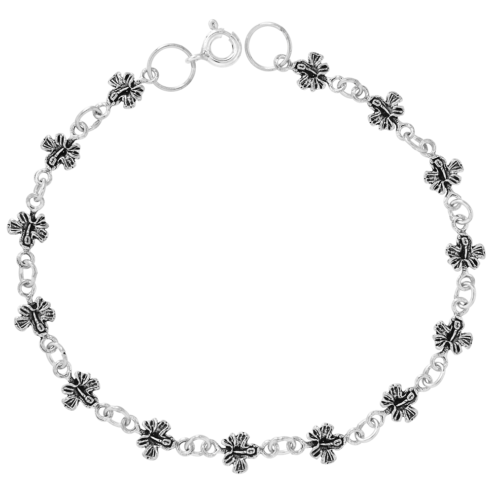 Dainty Sterling Silver Butterfly Bracelet for Women and Girls, 1/4 wide 7.5 inch long
