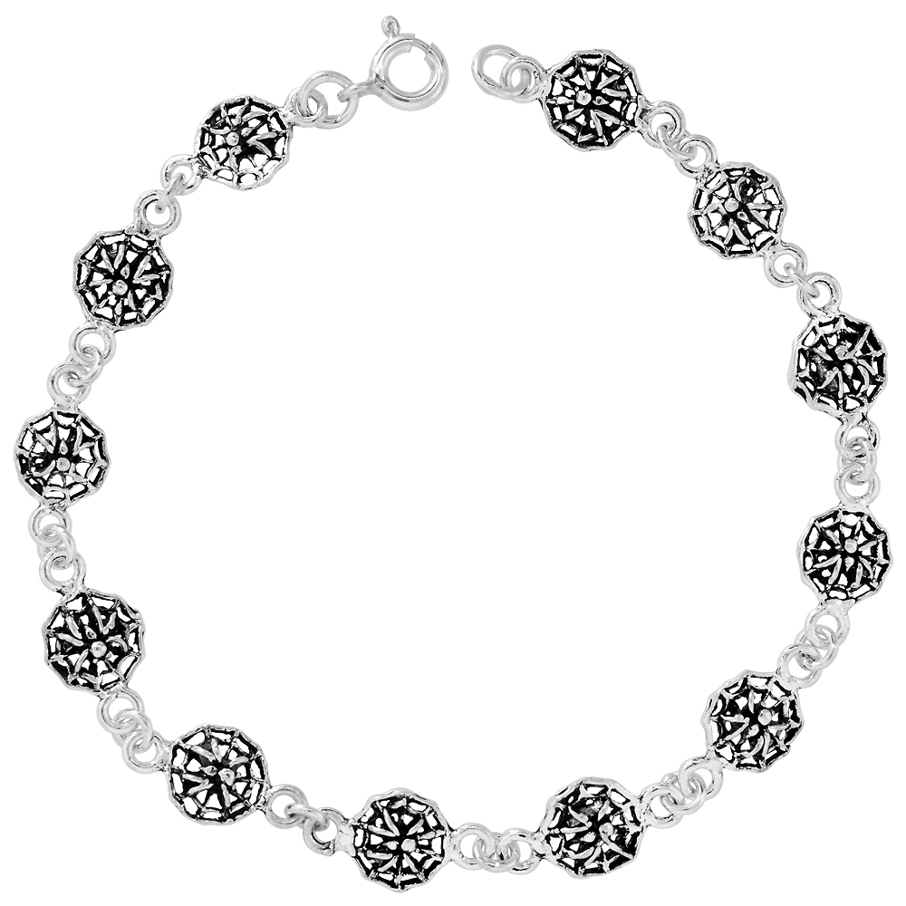 Dainty Sterling Silver Spider and Web Bracelet for Women and Girls, 3/8 wide 7.5 inch long
