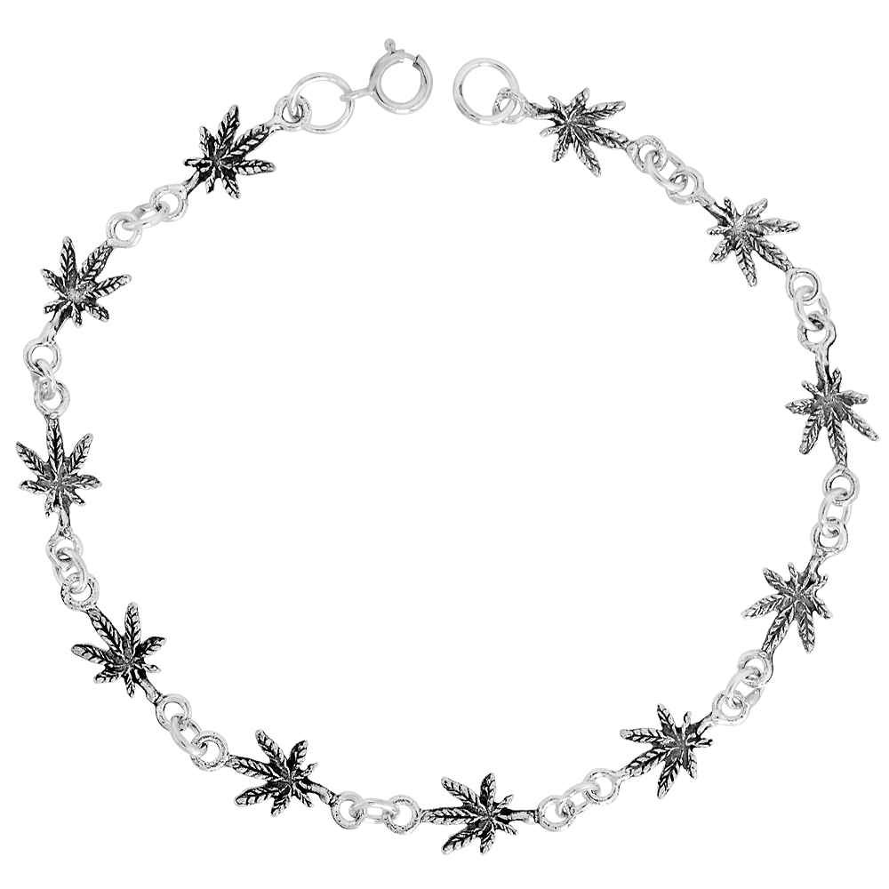 Dainty Sterling Silver Pot Leaf Bracelet for Women and Girls, 1/4 wide 7.5 inch long
