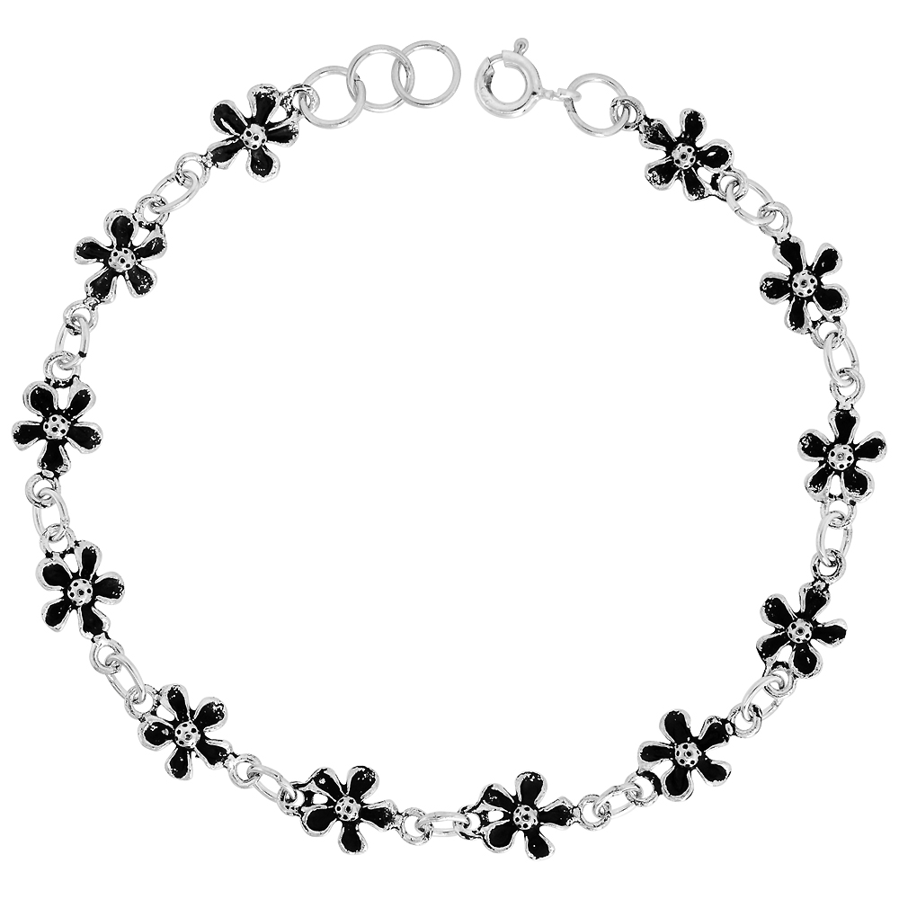 Dainty Sterling Silver Flower Bracelet for Women and Girls, 3/8 wide 7.5 inch long